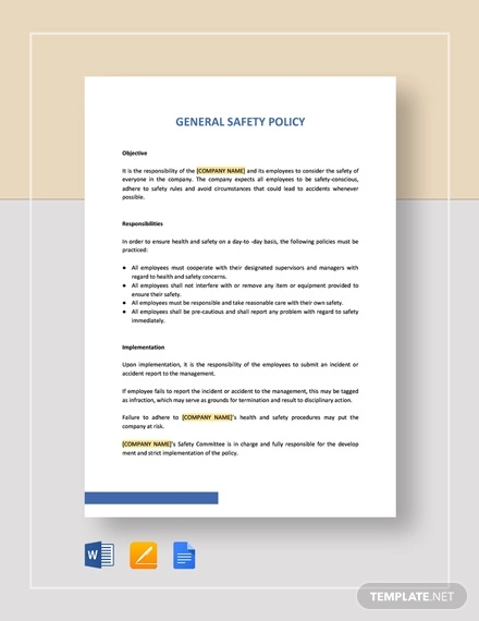 general safety policy template