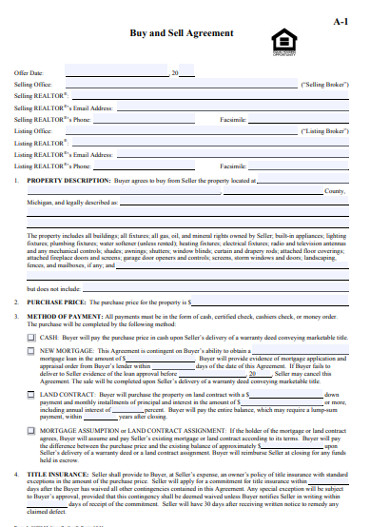 generic real estate buy sell agreement