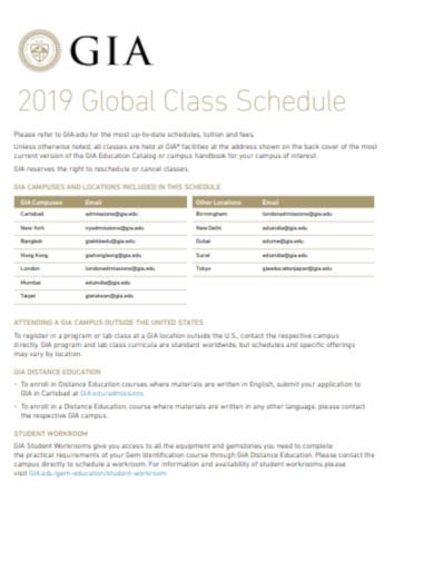 global class schedule