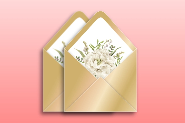 golden wedding envelope
