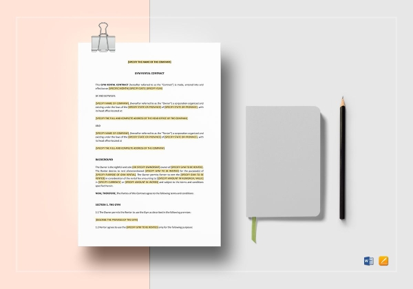gym rental agreement and contract
