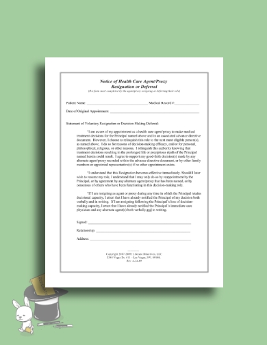 health care power of attorney resignation letter