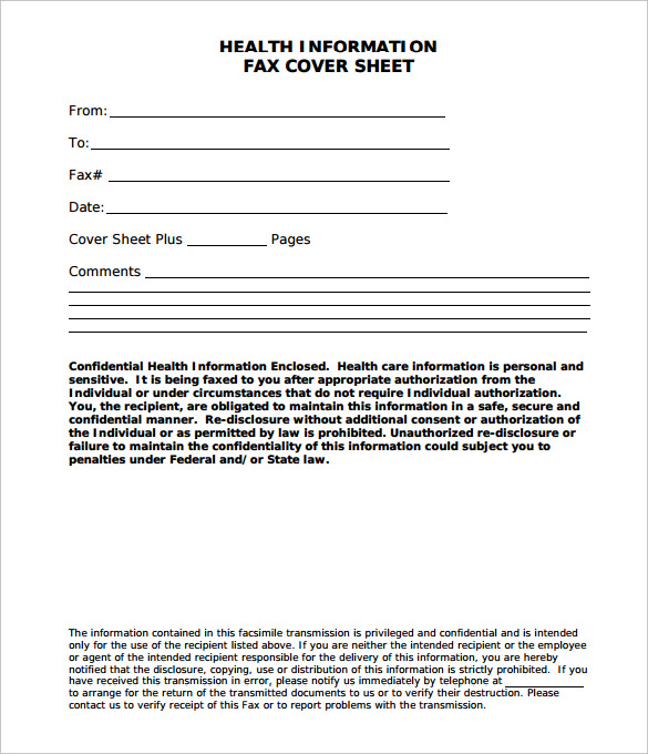 FREE 10+ Best Medical Fax Cover Sheet Examples & Templates ...