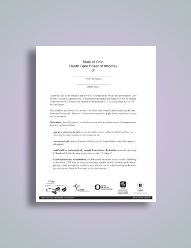 healthcare medical power of attorney template