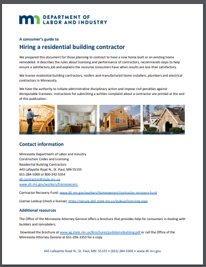 hiring a residential builder contract