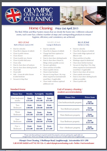 home cleaning prive list