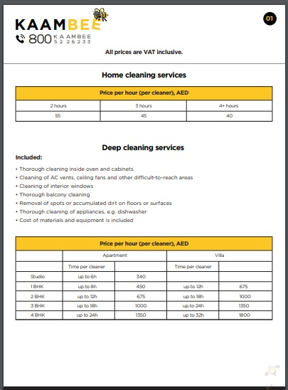 home deep cleaning services price list