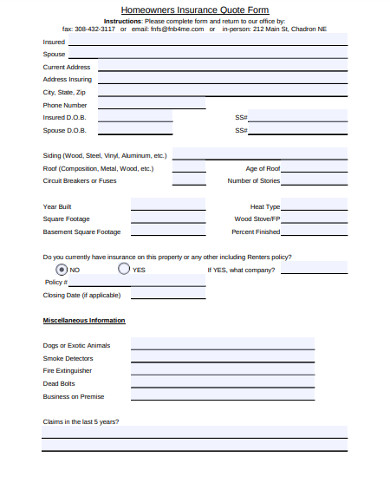 homeowners insurance quote form