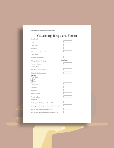 hotel catering request form
