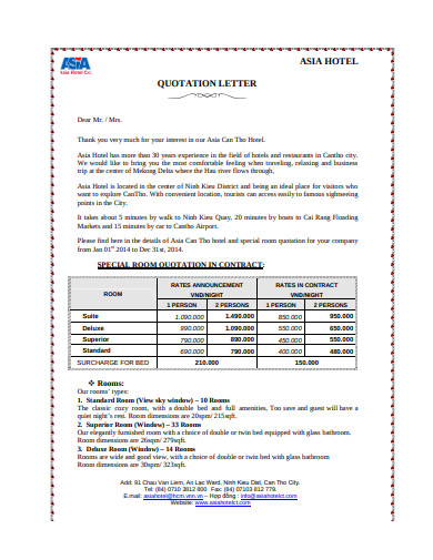 hotel quotation letter