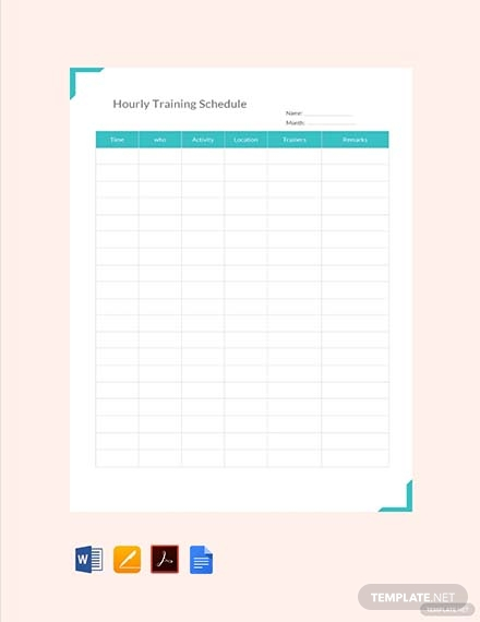 hourly training schedule template