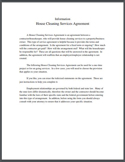 house cleaning services agreement