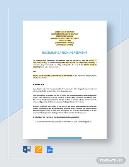 7 Indemnity Agreement Examples Pdf Doc Examples