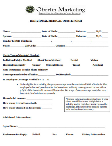 individual medical quote form