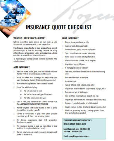 insurance quote checklist