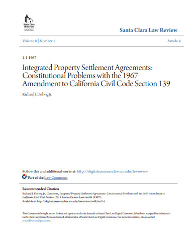 integrated property settlement agreement