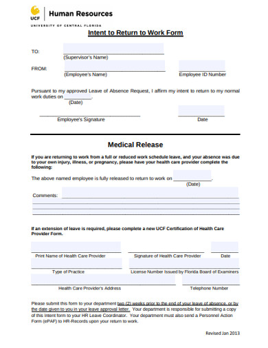 intent to return work release form