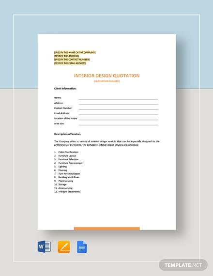 interior design quotation template