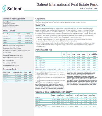 international real estate fund sheet