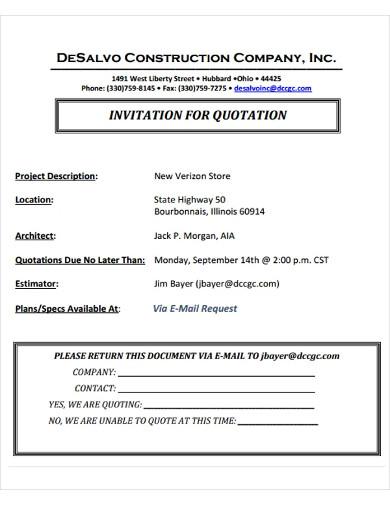invitation quotation for construction company
