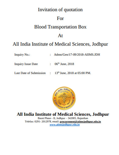 invitation of quotation for blood transportation box