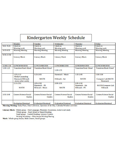 kinder garden weekly schedule