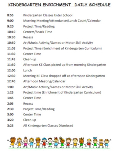 kinder garten daily schedule