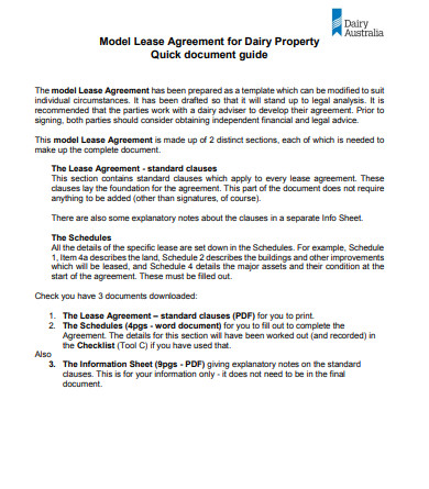 lease agreement for dairy property
