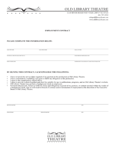 library employment contract