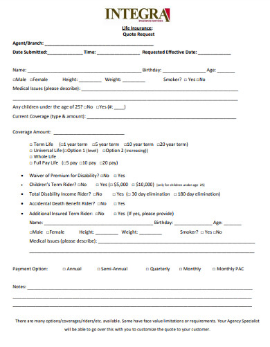 life insurance quote request form