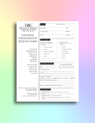 location photography order form