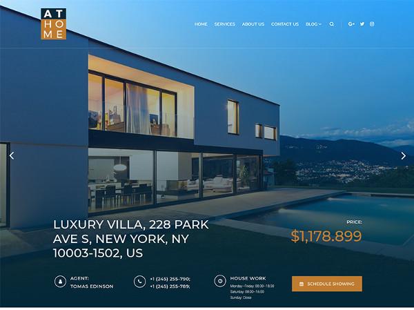 luxury villa wordpress real estate website template