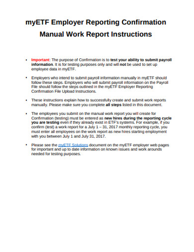 manual work report instructions