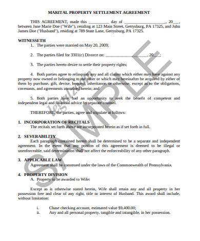 martial property settlement agreement
