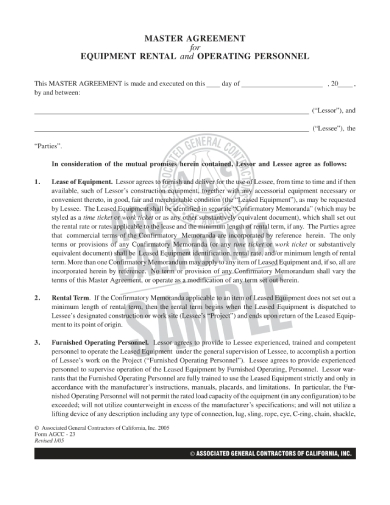 master agreement for equipment rental and operating personnel