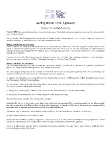 meeting rooms rental agreement