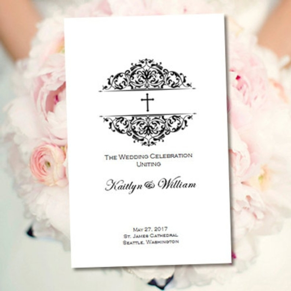 minimalist church wedding program