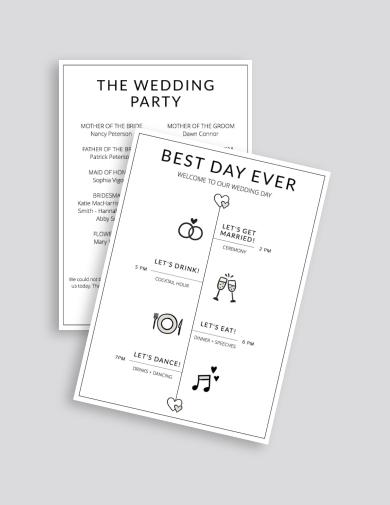 minimalist wedding agenda