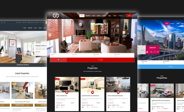 modern real estate website wordpress template