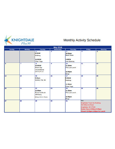 monthly activity schedule in pdf