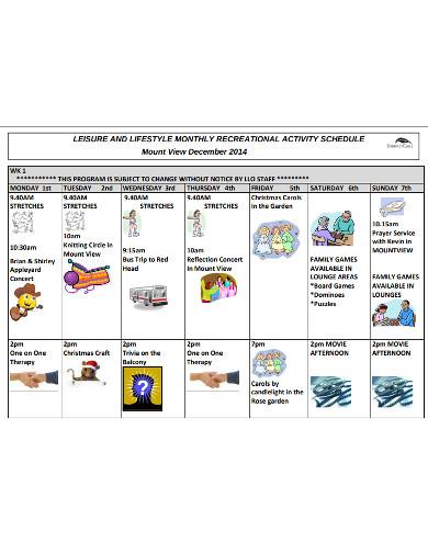monthly recreational activity schedule
