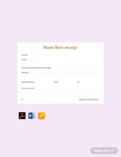 monthly room rent receipt