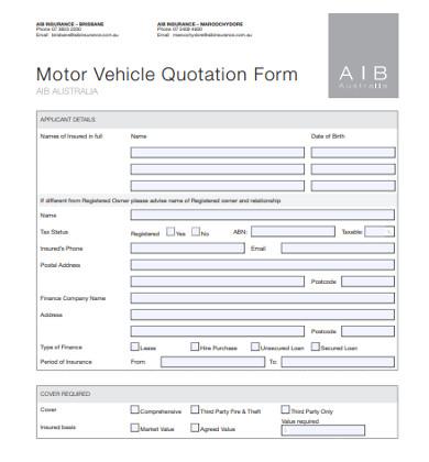 motor vehicle quotation form