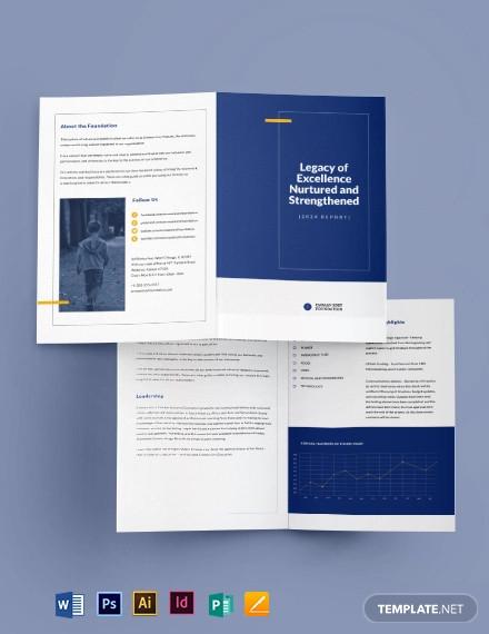 ngo annual report bi fold brochure template