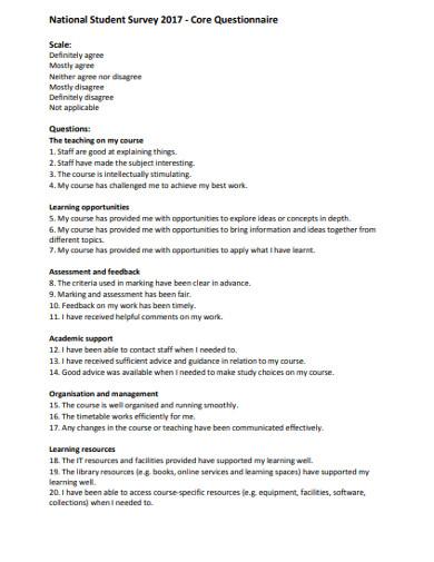 national student survey core questionnaire