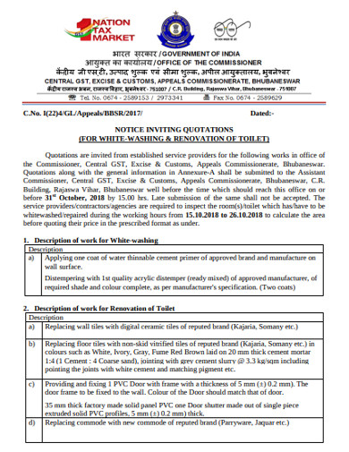 notice inviting quotation for renovation of toilets