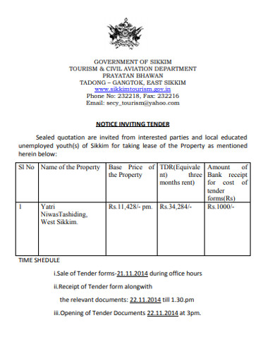 notice inviting tender sealed quotation