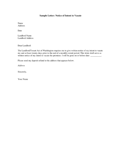 notice letter of tenants intent to vacate
