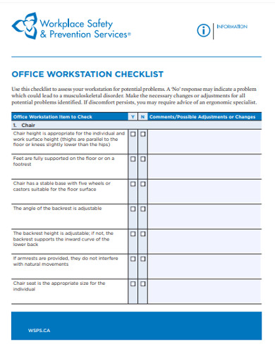 office work station checklist