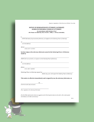 one page power of attorney resignation letter